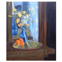 "Blue Vase with Oranges 2011 Oil on Canvas 55x46 cm 21.6x18"" €175"