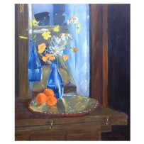 "Blue Vase with Oranges 2011 Oil on Canvas 55x46 cm 21.6x18"" €175"
