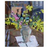 """Clay Vase with Spring Flowers 2006 Resin -Oil on Canvas 46x55 cm 18x21"""" €125"""