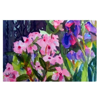 Dianthus with Irises 2011 -Watercolor on Arches 300 gsm Painted Area 15.5x 24.5 cm -Matted in 11×14 inch ivory colored museum board – €25