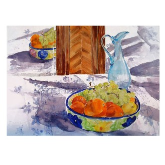 Fruit Bowl with Glass Blue Vase 2015 Watercolor on Arches 640 GSM 56×76 cm 22×30 in €280