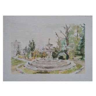 La Fuente de los Tritones Madrid, Spain 2020 Watercolor on Arches 300 gsm - 14 x19 cm 7.5 x5.5 inches Matted 8x10 in €60