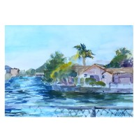 Lagoon in Alameda 2015 Watercolor on Arches 300 GSM 28x38 cm 11 x15 in €85 Euros