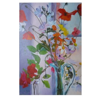 Mediterranean Wildflowers in Blue Glass Ewer 2020 Oil on Wood Panel 20x30 cm / 8x12 in €60
