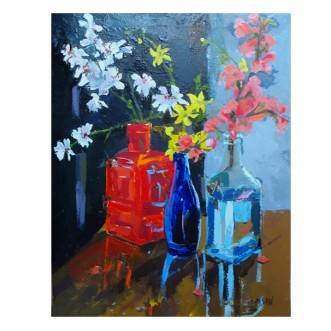 "My Favorite Bottles in a Row 2020 Resin-oil on stretched canvas 41x55 cm 16x 21.6"" €120"