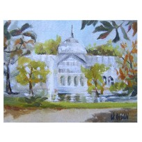 "Palacio de Cristal 2019 Oil on canvased wood panel 9×12 cm 3.5 x 4.75 "" €30"