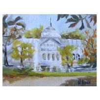 "Palacio de Cristal 2019 Oil on canvased wood panel 9×12 cm 3.5 x 4.75 "" €30"