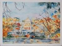 Palacio de Cristal Madrid, Spain 2021 Watercolor on Arches 300 gms 28.5×38.5 cm / 11.5×15 in $72
