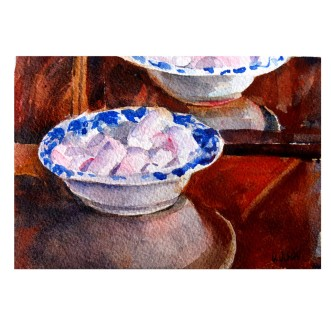 Pink marshmellows in Ceramic Dish 2015 Watercolor on Arches 300 GSM – Painted Area 4.7x 6.4 in – 16.5x12cm Matted in 8×10 inch ivory colored museum board – €35