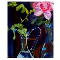 "Pink Rose in Blue Vase 2014 Egg Tempera on Canvas 41x33 cm 16x13"" €110"