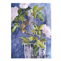 Pink Roses in Crystal Vase November 2014 Watercolor on Arches 300 GSM 34×25 cm 13.75 x10 in Location: San Diego €45