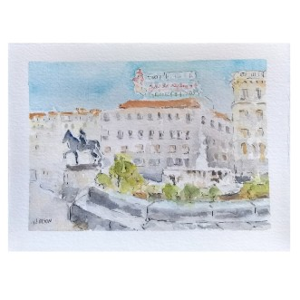 Puerta del Sol New Years Day 2021 Madrid, Spain 2021 Watercolor on Arches 300 gsm – 14 x19 cm 7.5 x5.5 in €60