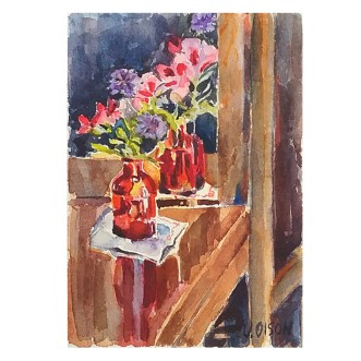 Red Bottle with California Wild Flowers 2016 Watercolor on Arches 300 gsm 10 x 8 inch (25.4 x20.3 cm) Matted on ivory colored museum board €35