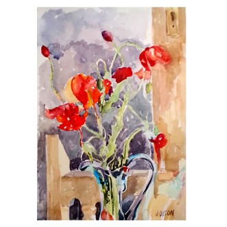 Red Poppies In Glass Blue Vase April 2015 Watercolor on Arches 300 GMS 38×28 cm 15×11 in €100