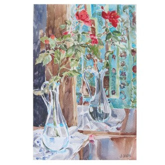 Red Roses in Blue Glass Vase 2015 Watercolor on Arches 640 GSM 56 x38 cm 22 x15 in €140