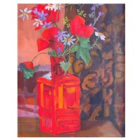 Spanish Wild Flowers in Red Bottle 2012 Spanish Wild Flowers in Red Bottle 2012 - Egg Tempera on Canvas - 16 in x 13 in - 41 cm x 33 cm €110