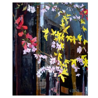 "Spring Blossoms 2006 Resin-oil on stretched linen 41x33 cm 16x13"" €110"
