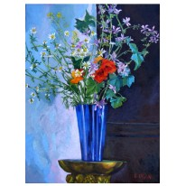 "Spring Flowers 2005 Egg Tempera and oil on Canvas 73×54 cm 28.7x21"" €200"