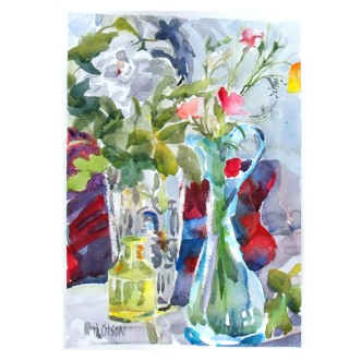 Spring Flowers in Glass Work August 2016 Watercolor on Arches 640 gms 28x38cm 11x15in Matted in 20x 16 inch Ivory colored museum board €90