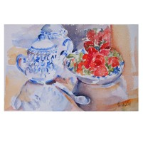 Strawberries and Talavera Sugar Bowl 2015 Watercolor on Arches 640 GSM 7.5×11 in 19 x28 cm €20