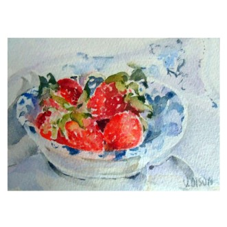 Strawberries in Dish 2015 Watercolor on Arches 640 GSM 14×19 cm 5.5 x7.5 in €30