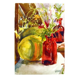 Summer Melon with Red Bottle 2016 Watercolor on Arches 300 gsm 38×28 cm 15×11 in Matted in 20x 16 inch Ivory colored museum board €110