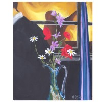 """Wild Flowers in Blue Vase 2012 Wild Flowers in Blue Vase 2012 - Egg Tempera on Canvas - 41x 33cm 16 in x 13"""" €110"""