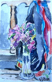 Bougainvillea in Crystal Vase 2019 Watercolor on Arches 300 gms 9.5x14.5 cm 3.75x5.75 in $31