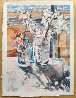 Watercolor of Almond blossoms in glass with natural light