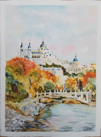 La Almudena desde el Puente de los Frances 2021 Watercolor on Arches 300 gms 38.5×28.5 cm / 15×11.5 in $85