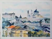 La Almudena Visto desde el Puente del Rey 2021 Watercolor on Arches 300 gms 28.5×38.5 cm / 11.5×15 in $85