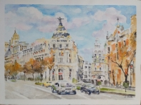 La Gran Via 2021 Watercolor on Arches 300 gms 28.5×38.5 cm / 11.5×15 in $72