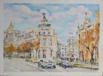 La Gran Via 2021 Watercolor on Arches 300 gms 28.5×38.5 cm / 11.5×15 in $72