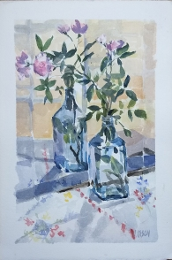 Miniature Pink Roses in Bombay Sapphire shinning Blue Bottle 2020 Watercolor on Guarro 300 gsm 17.5x25.5 cm / 7x10 in $31