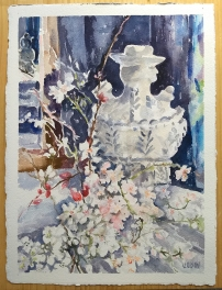 Watercolor of Portuguese Botijo with white and pink almond blossoms