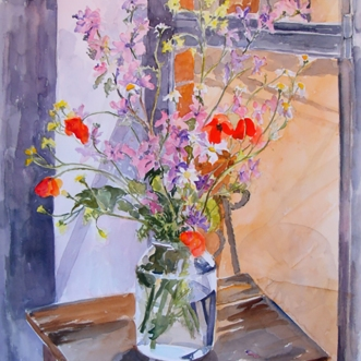 Watercolor of Wildflowers in Pickle Jar