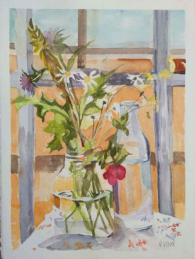 A watercolor of Wildflowers in a Pickle Jar