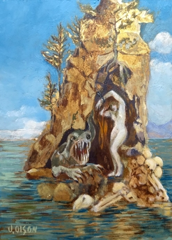 Oil painting of Andromeda and the Sea Creature