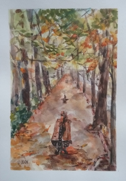 Watercolor of Autumn leaves in Retiro Park
