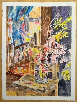 Watercolor of early spring flowers almond blossoms, Japanese Scarlet Quince and Yellow Retama