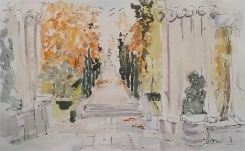 Watercolor of The Retiro Park in the Autumn