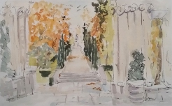 Watercolor of The Retiro Park in the Autumn