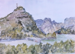 A watercolor of El Chorro in Malaga Spain