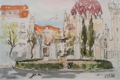 Watercolor of Fountain of the Nymphs