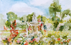 Watercolor Fuente del Faunito in La Rosaleda