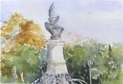 Watercolor of Monument to the Fallen Angel