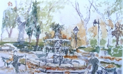 Watercolor of Fuente en la Plaza del Marmol