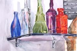 Watercolor of Glass Bottles on Shelf