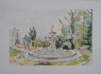 Watercolor of La Fuente de los Tritones in Campo del Moro