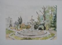 Watercolor of La Fuente de los Tritones in Campo del Moro